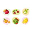 cute happy fruits characters set funny mascots vector image vector image