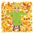 Cute little girl lying on colorful autumn leaves vector image vector image