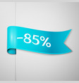 cyan ribbon with text eighty five percent discount vector image vector image