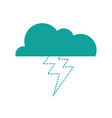 dotted shape cloud with thunder natural weather vector image vector image