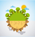 earth divided green landscape and desert scene vector image