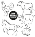 farm animals minimal hand drawn set pictures vector image