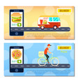 fast food and pizza delivery flyers vector image vector image