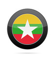 flag of myanmar shiny black round button vector image vector image