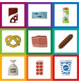 flat icon food set of tin tuna cookie yogurt and vector image vector image
