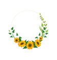 floral wreath with sunflowers and leaves design vector image vector image