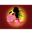 Girl with gift box and ribbon2 vector image