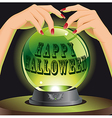 Halloween background with magic sphere vector image vector image