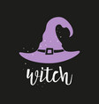 halloween card with witch hat isolated on black vector image vector image