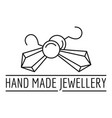 hand made jewellery logo outline style vector image