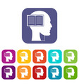 head with open book icons set flat vector image vector image