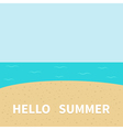 hello summer beach sea ocean sky sand cute cartoon vector image