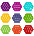 honeycomb icons set 9 vector image vector image
