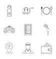 Hostel accommodation icons set outline style vector image vector image