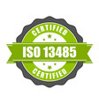 iso 13485 standard certificate badge - medical vector image vector image