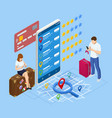 isometric tourists choosing hotel and booking room vector image