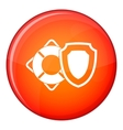 Lifebuoy and safety shield icon flat style vector image