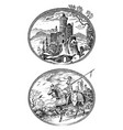 medieval knight and castle antique chateau and vector image vector image