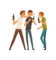 men with bottles of drinks male friends drinking vector image vector image