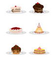 set of desserts vector image