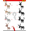 shadow game with cute donkey characters vector image vector image