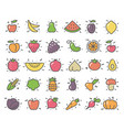 simple icons of vegetables and fruit vector image vector image
