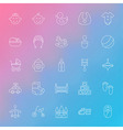 Toys and Baby Line Icons Set over Blurred vector image
