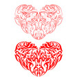 two red hearts silhouettes vector image