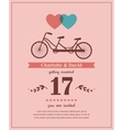 Valentines card with tandem bicycle vector image vector image