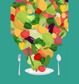 vegetables on plate vegetable dish vegetarian food vector image