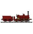vintage red steam locomotive vector image vector image