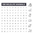 wildlife animals editable line icons 100 vector image vector image