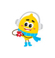 winter fruit lemon in headphones hot cup vector image vector image