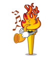 with trumpet torch mascot cartoon style vector image
