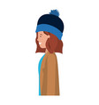 young woman with winter clothes avatar character vector image vector image