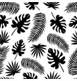 seamless pattern with black silhouettes of leaves vector image
