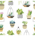 succulent and cactus seamless pattern flat style vector image