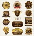 anniversary golden labels and badges 70 years vector image vector image