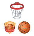 basketball and attributes cartoon icons in set vector image