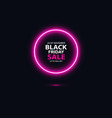 black friday sale glowing neon sign on the black vector image