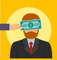 Bribery money close eyes concept background flat