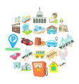 burg icons set cartoon style vector image vector image