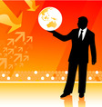 Businessman holding planet