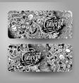 cartoon hand drawn doodles idea banners vector image vector image