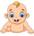 cartoon happy baby learn to crawl vector image vector image