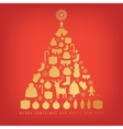 Christmas tree with decoration elements on red vector image