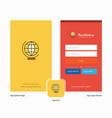 company world globe splash screen and login page vector image