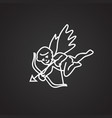 cupid thin line on black background vector image