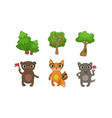 cute woodland animals and green forest trees set vector image