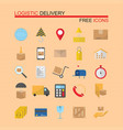 delivery and logistics icons set vector image